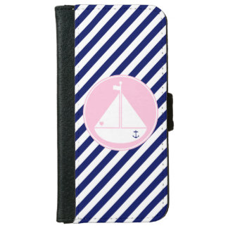 Blue and Pink Sailboat iPhone 6/6s Wallet Case