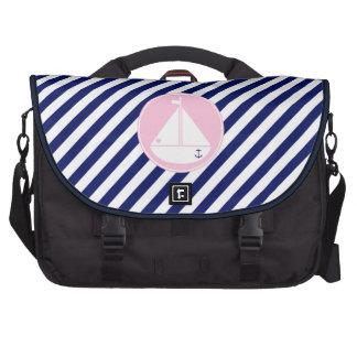Blue and Pink Sailboat Laptop Computer Bag