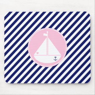 Blue and Pink Sailboat Mouse Pad
