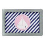Blue and Pink Sailboat Rectangular Belt Buckles