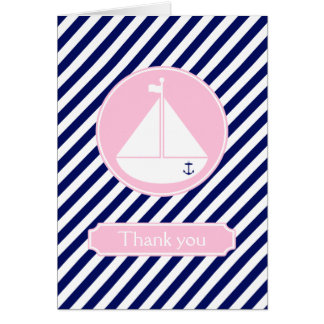 Blue and Pink Sailboat  Thank You Stationery Note Card