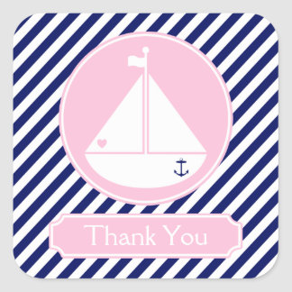 Blue and Pink Sailboat  Thank You Square Sticker