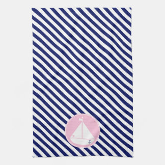 Blue and Pink Sailboat Towel