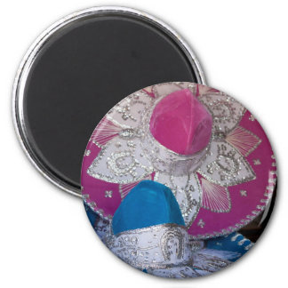 Blue and Pink Sombreros Magnets