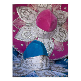 Blue and Pink Sombreros Postcard