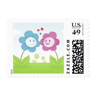 Blue and Pink Spring Daisies Postage Stamp