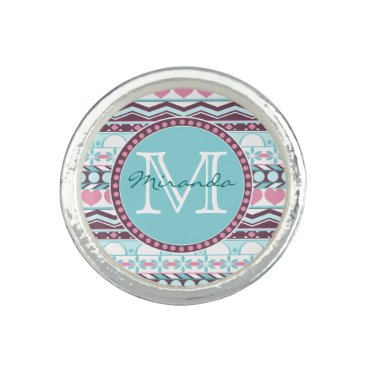 Aztec Themed Blue and pink striped aztec pattern monogram ring