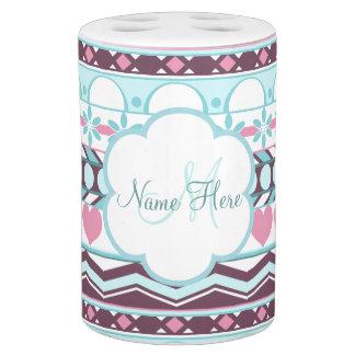 blue and pink striped aztec pattern monogram soap dispenser u0026amp toothbrush holder