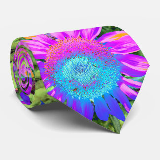 Blue and Pink Sunflower Tie