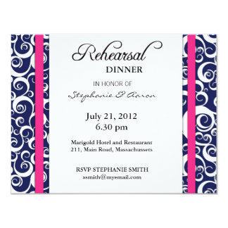 Blue and Pink Swirl Rehearsal Dinner Card