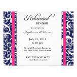 Blue and Pink Swirl Rehearsal Dinner Card Custom Invite