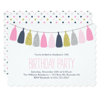 Blue and Pink Tassel Garland Birthday Party Card