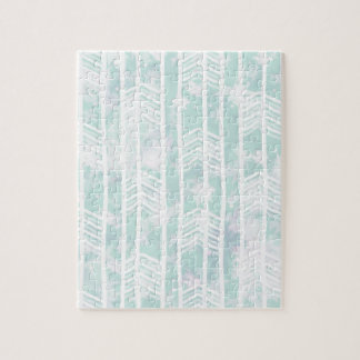Blue and Pink Tribal Leaf Pattern Jigsaw Puzzle
