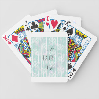 Blue and Pink Tribal Leaf Pattern live laugh love Bicycle Playing Cards