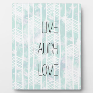 Blue and Pink Tribal Leaf Pattern live laugh love Plaques