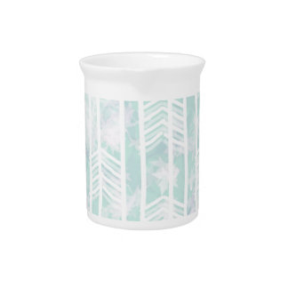 Blue and Pink Tribal Leaf Pattern Pitchers