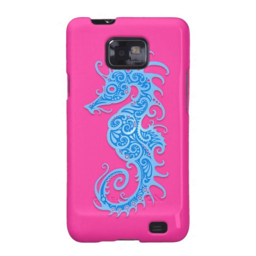 Blue and Pink Tribal Seahorse Galaxy SII Case