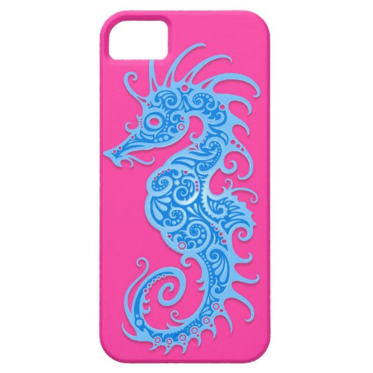 Blue and Pink Tribal Seahorse iPhone SE/5/5s Case