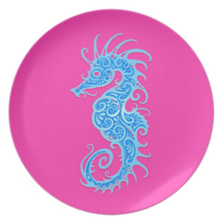 Blue and Pink Tribal Seahorse Melamine Plate