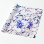 Blue and Pink Veined Marble Wrapping Paper