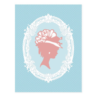 Blue and Pink Vintage Cameo Postcard