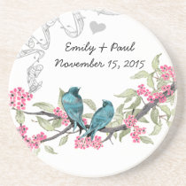 Blue and Pink Vintage Love Birds Coasters
