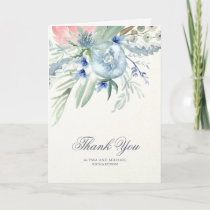 Blue and Pink Watercolor Peonies Thank You