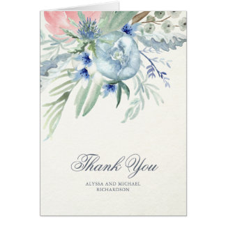 Blue and Pink Watercolor Peonies Thank You Card