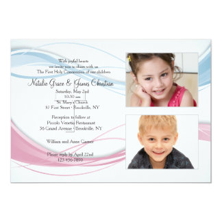 Blue and Pink Wave Photo Invitation
