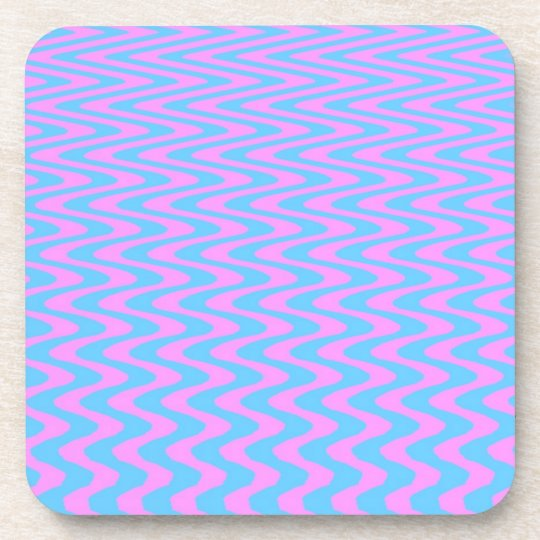 Blue and Pink Wavy Lines Drink Coaster