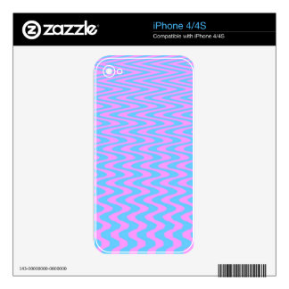 Blue and Pink Wavy Lines Skin For The iPhone 4S