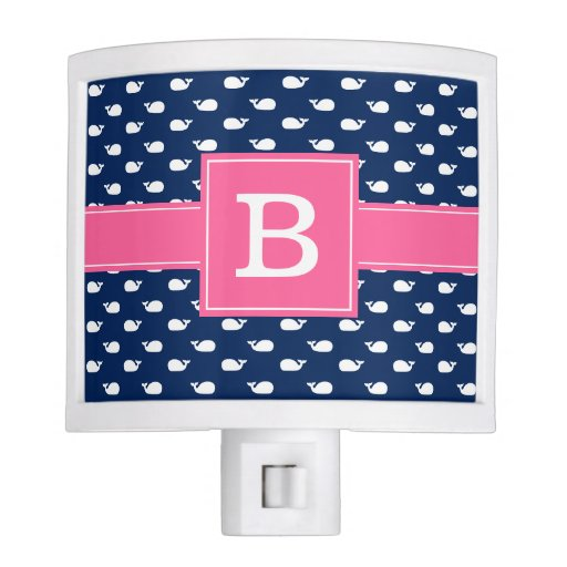 Blue and Pink Whimsical Whales Pattern Monogram Night Light