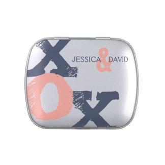 Blue and Pink XOX Wedding Candy Tin