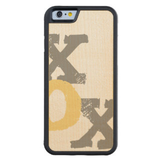 Blue and Pink XOX Wedding Carved Maple iPhone 6 Bumper Case