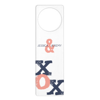 Blue and Pink XOX Wedding Door Knob Hanger