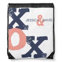 Blue and Pink XOX Wedding Drawstring Backpack