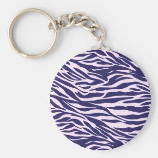 blue and pink zebra basic round button keychain