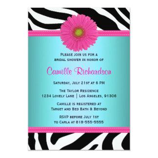Blue and Pink, Zebra Bridal Shower Invitation