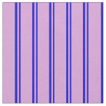 [ Thumbnail: Blue and Plum Lines Pattern Fabric ]
