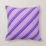 [ Thumbnail: Blue and Plum Lines Pattern Throw Pillow ]