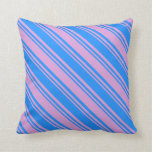 [ Thumbnail: Blue and Plum Pattern Throw Pillow ]