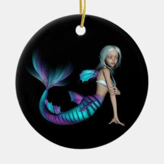Blue and purple 3D mermaid 1 Ceramic Ornament