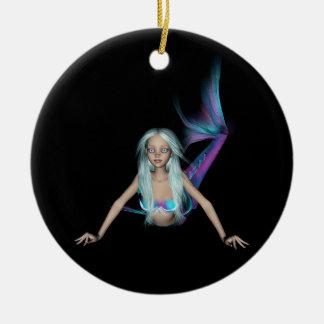 Blue and purple 3D mermaid 2 Ceramic Ornament