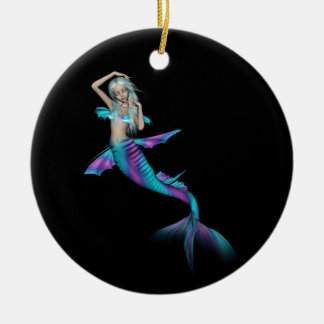 Blue and purple 3D mermaid 3 Ceramic Ornament