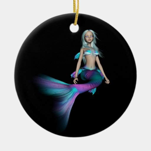Blue and purple 3D mermaid 4 Double-Sided Ceramic Round Christmas Ornament