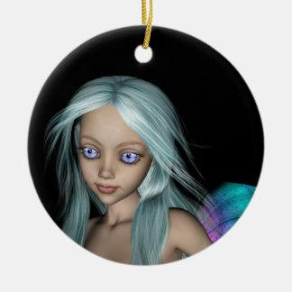 Blue and purple 3D mermaid 5 close-up Ceramic Ornament