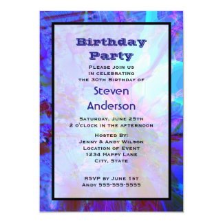 Blue and Purple Abstract Design Birthday Party 5x7 Paper Invitation Card