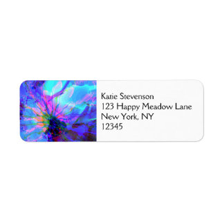 Blue and Purple Abstract Design Label