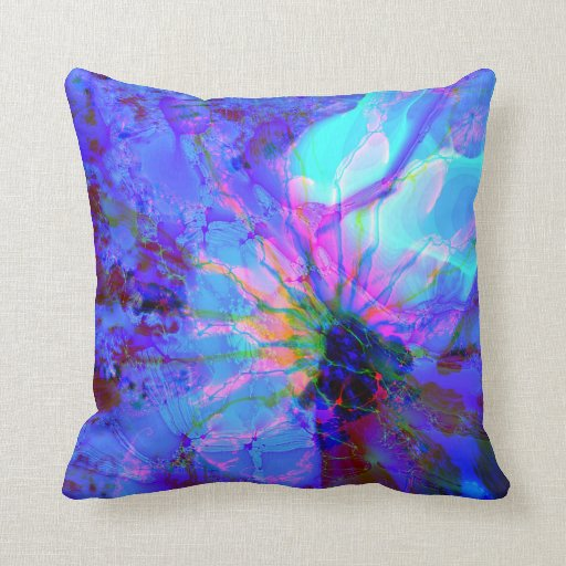 Blue Purple Throw Pillows : Blue and Purple Abstract Design Throw Pillow Zazzle