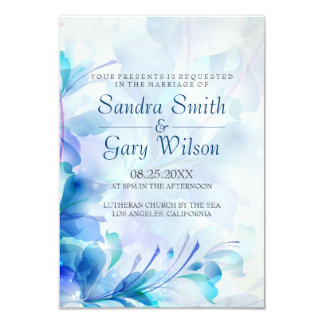 Blue And Purple Abstract Flowers Card
